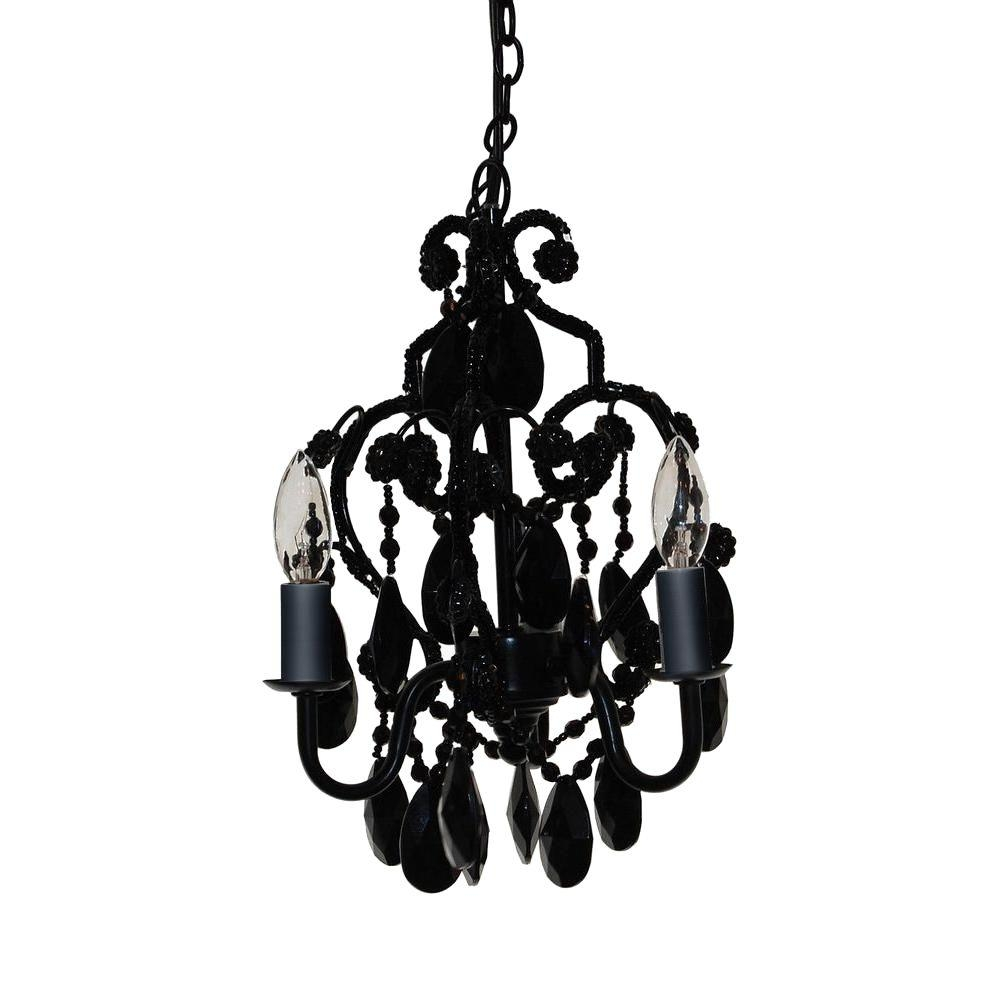 Tadpoles 3 Light Black Onyx Mini Chandelier Cchapl020 The Home Depot Intended For Faux Crystal Chandeliers (View 9 of 25)