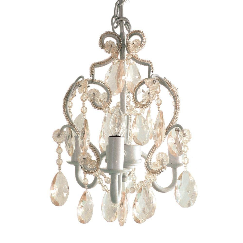 Tadpoles 3 Light White Diamond Mini Chandelier Cchapl010 The Inside Mini Chandeliers For Nursery (Image 23 of 25)