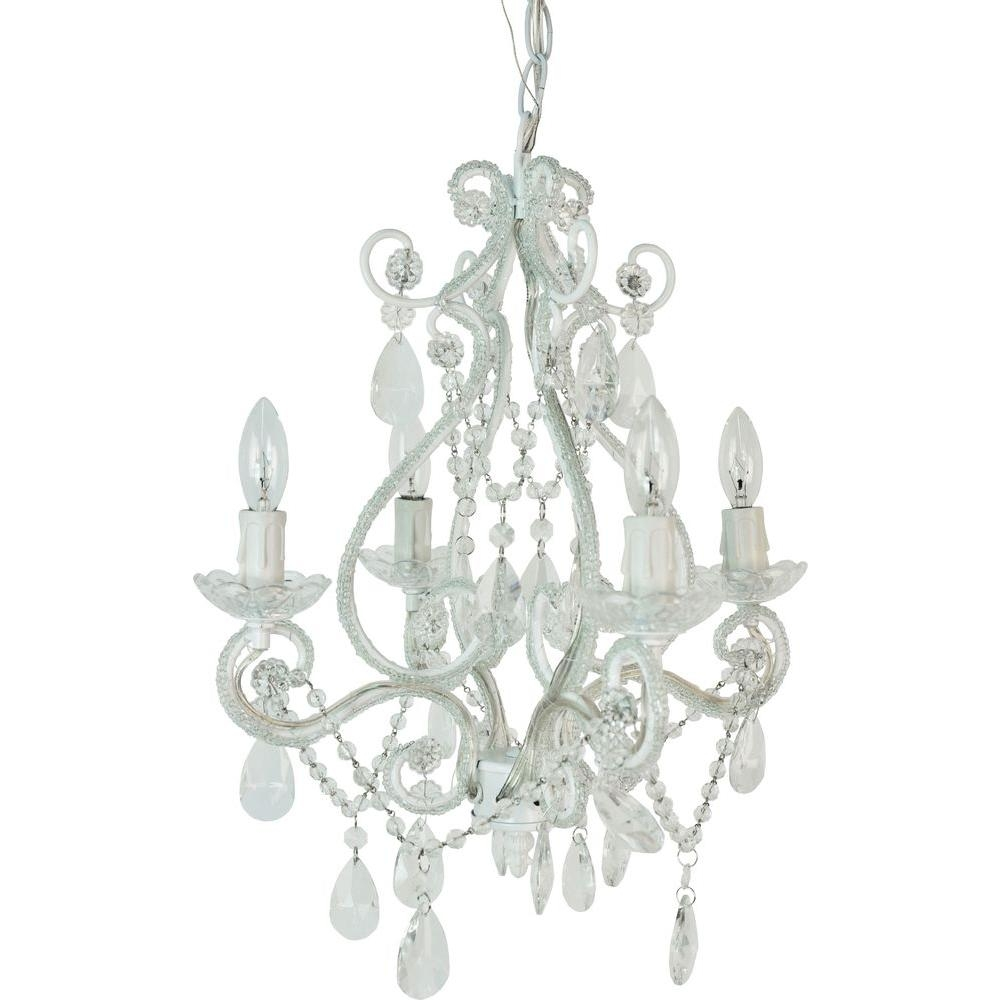Tadpoles 4 Light White Mini Chandelier Cchapl410 The Home Depot Regarding 4 Light Crystal Chandeliers (Image 18 of 25)