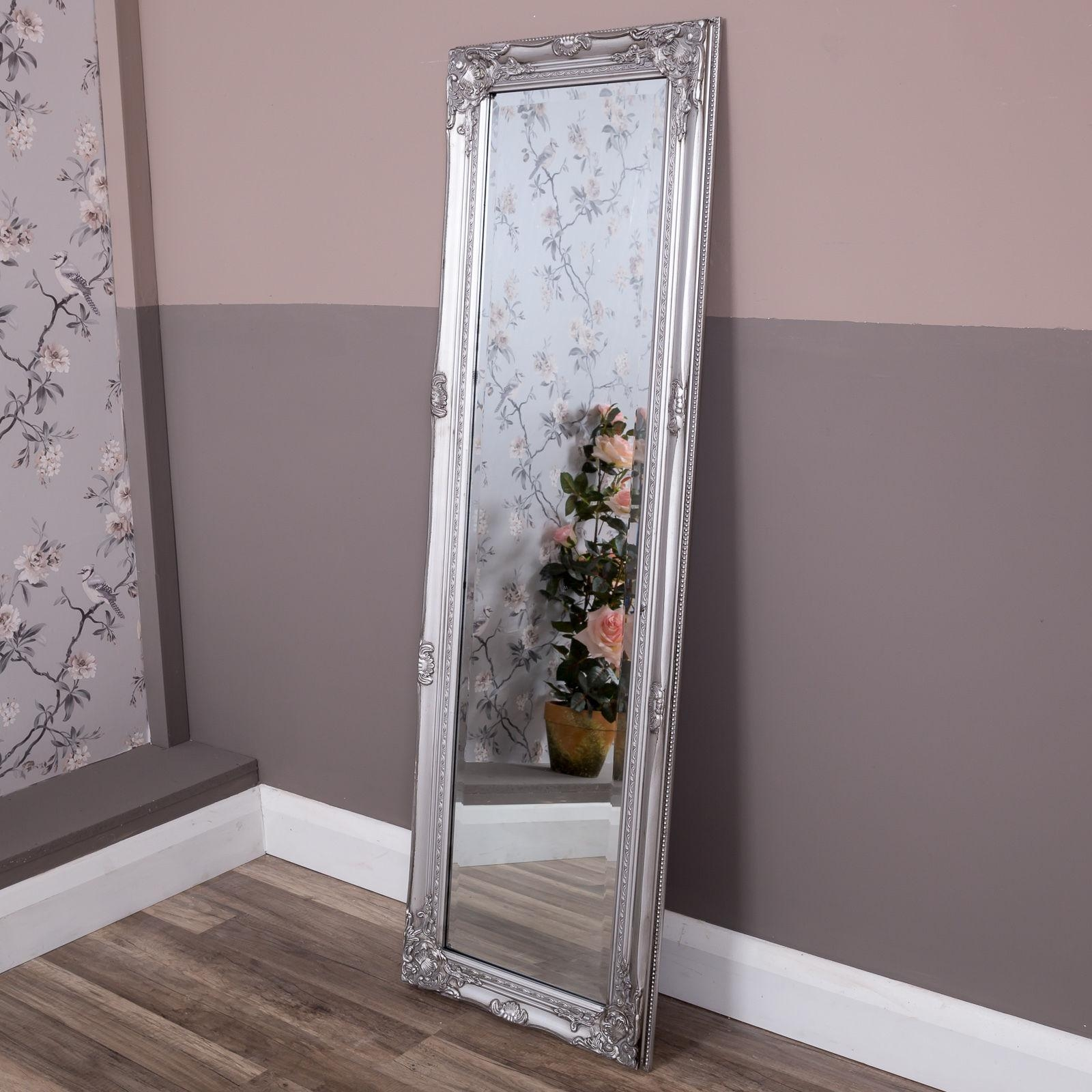 Tall Slim Silver Wall Mirror Shabby Vintage Chic French Ornate Pertaining To Antique Full Length Wall Mirror (View 19 of 20)