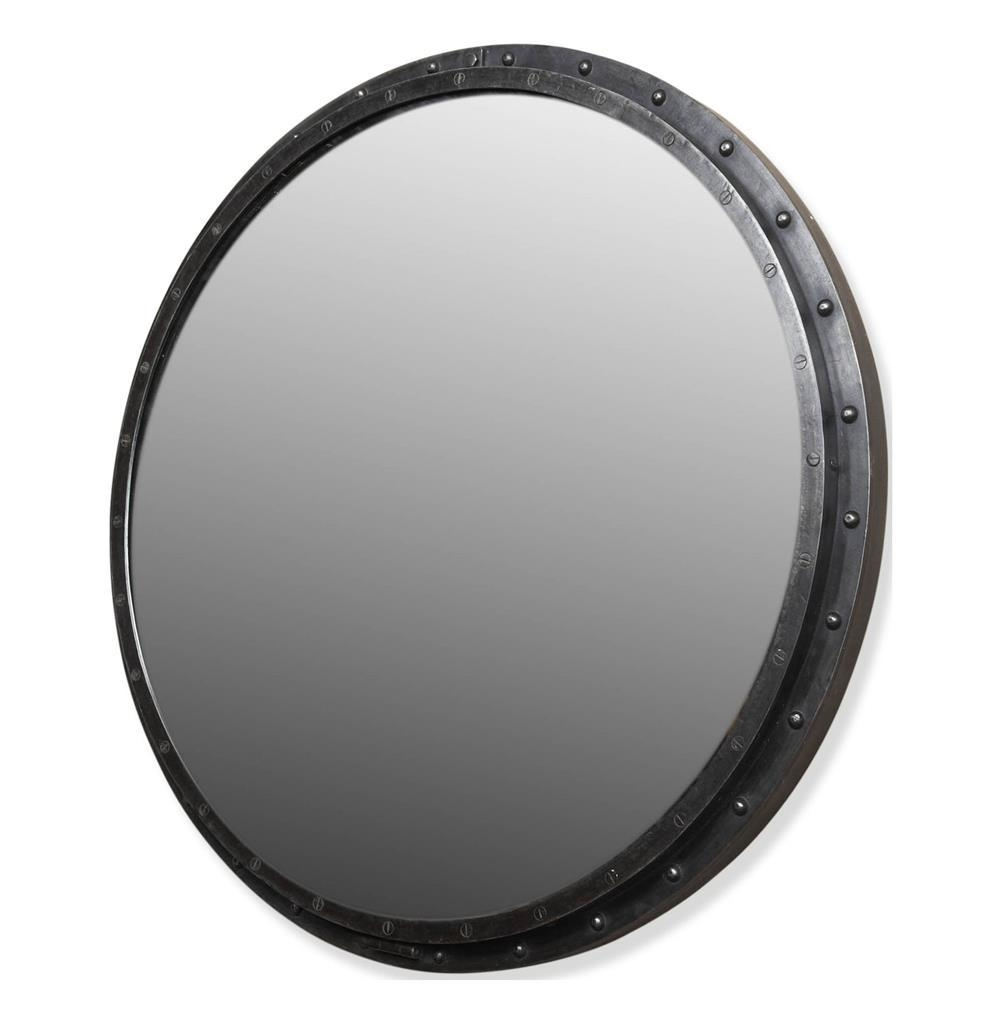 Taloro Large Industrial Loft Porthole Style Mirror | Kathy Kuo Home Inside Porthole Wall Mirror (View 18 of 20)