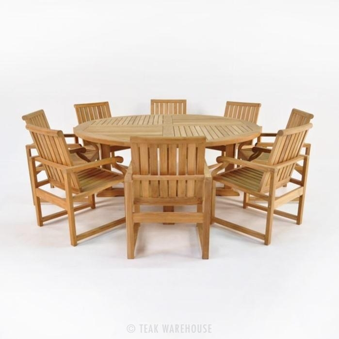 Teak Dining Set | Capri Round Wood Cafe Table + 8 Chairs | Teak In Round Teak Dining Tables (Image 14 of 20)
