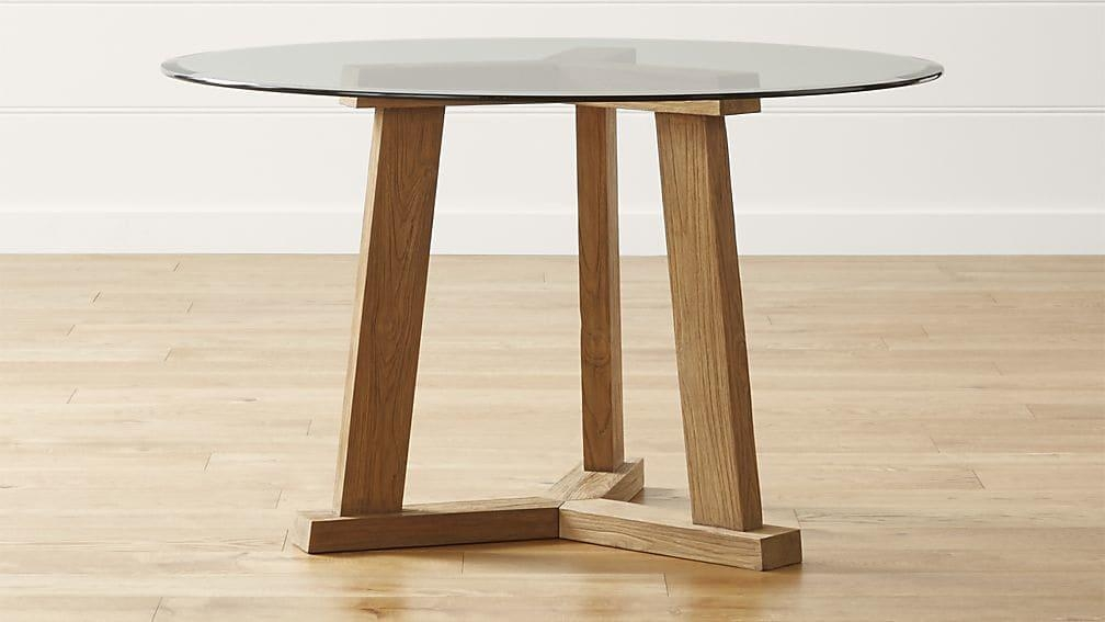 Teak Reclaimed Wood Round Dining Tables With Glass Tops | Crate For Round Teak Dining Tables (Image 15 of 20)