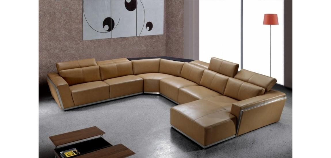 Tempo Large U Shape Sectional Sofa In Brown Leather In Leather Modern Sectional Sofas (View 19 of 20)