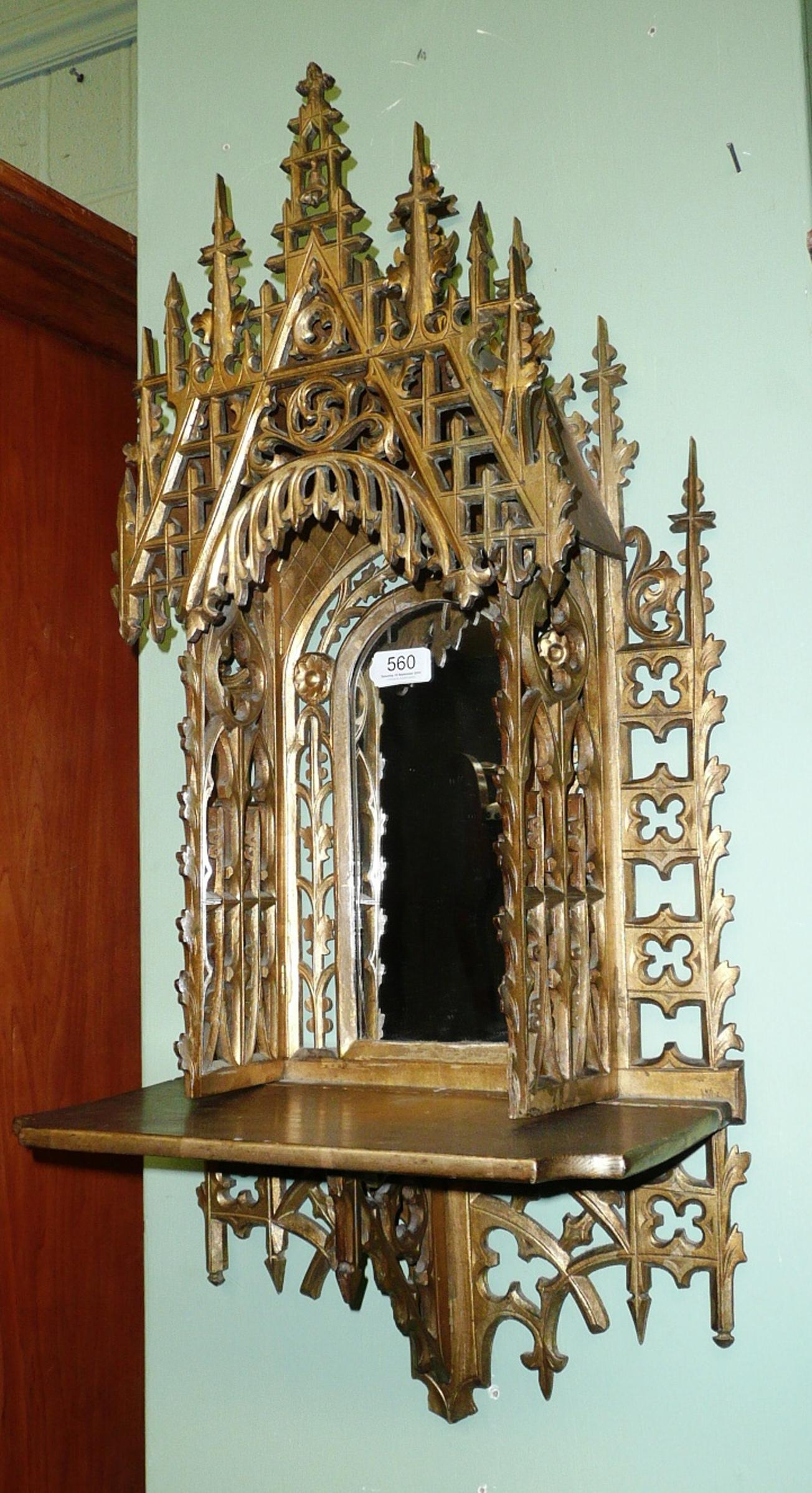 Tennants Auctioneers: Folding Gilded Wood Carved/fretwork Gothic Within Gothic Style Mirror (View 9 of 20)