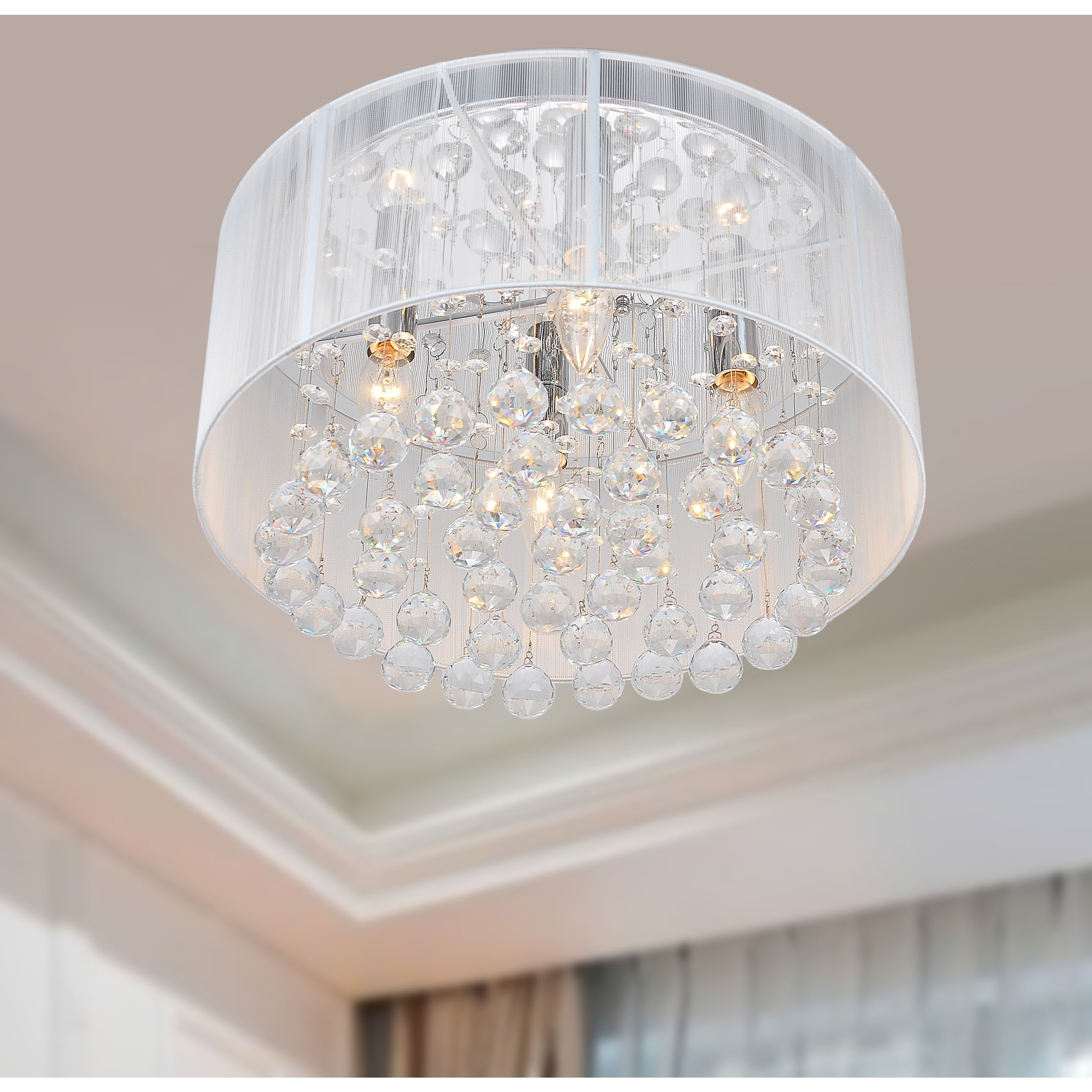 The Lighting Store Flushmount 4 Light Chrome And White Crystal Pertaining To 4light Chrome Crystal Chandeliers (Image 15 of 25)