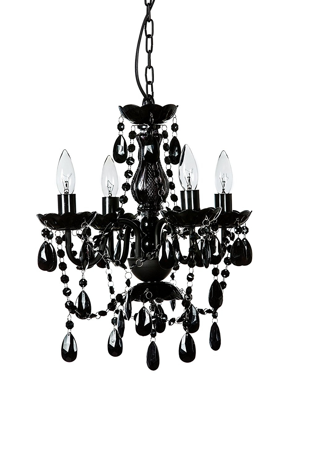 The Original Gypsy Color 4 Light Small Black Chandelier H18 W15 Inside Small Gypsy Chandeliers (Image 22 of 25)