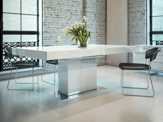 Tokyo Perth Extending White High Gloss Dining Table 4 6 8 Chairs With White Extendable Dining Tables (Image 19 of 20)