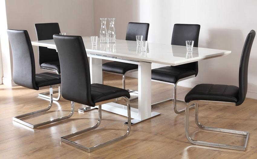 Tokyo White High Gloss Extending Dining Table And 6 Chairs Set In Gloss White Dining Tables (Image 14 of 20)