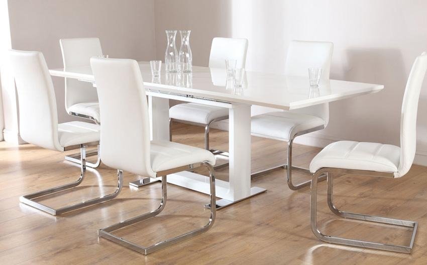 Tokyo White High Gloss Extending Dining Table And 8 Chairs Set Pertaining To Extending Glass Dining Tables And 8 Chairs (Image 20 of 20)