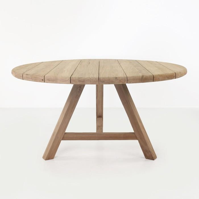 Toni Reclaimed Teak Round Outdoor Dining Table | Teak Warehouse Within Round Teak Dining Tables (Image 18 of 20)