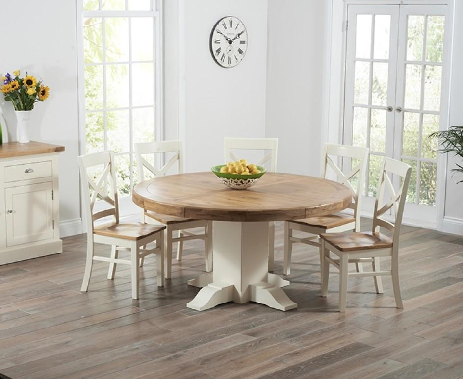 Torino Oak & Cream Extending Pedestal Dining Table With Cavendish For Cream And Wood Dining Tables (View 6 of 20)