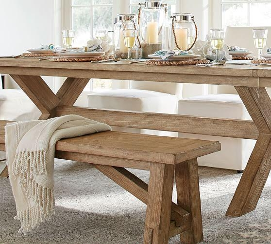 Toscana Fixed Bench | Pottery Barn Intended For Toscana Dining Tables (Image 17 of 20)