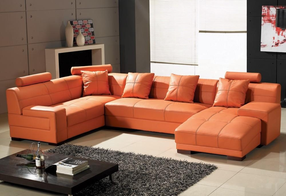 Tosh Furniture Leather Sectional Sofa In Orange – Flap Stores With Orange Sectional Sofas (View 2 of 20)
