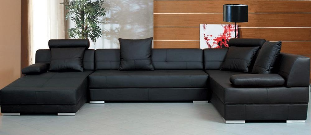 Tosh Furniture Modern Black Sectional Sofa Set – Flap Stores Pertaining To Black Microfiber Sectional Sofas (View 11 of 20)