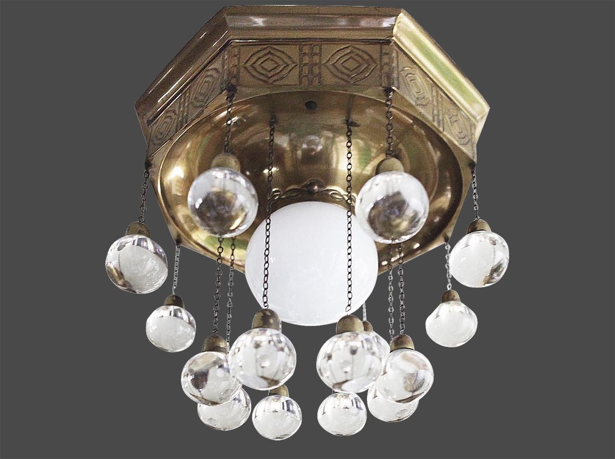 Traditional Ceiling Light Brass Crystal Led Palais Stoclet Inside Vienna Crystal Chandeliers (Image 16 of 25)