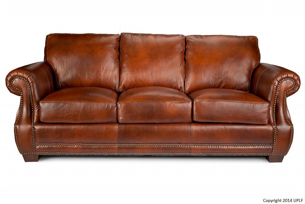 Traditional Top Grain Leather Sofa With Nailhead Trimusa Within Brown Leather Sofas With Nailhead Trim (View 6 of 20)