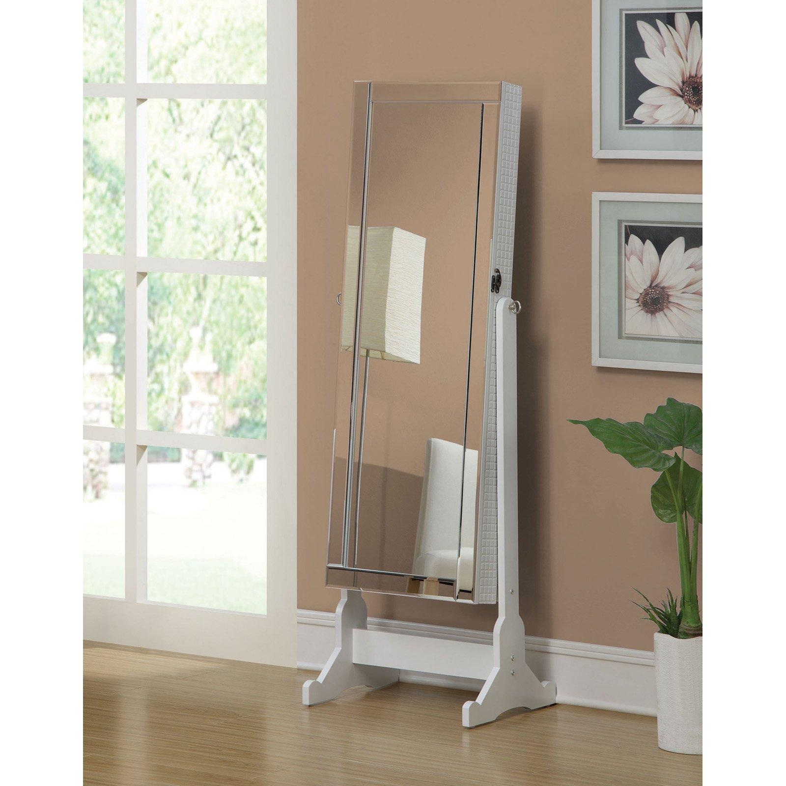 Transitional Cherry Jewelry Armoire Cheval Mirror | Hayneedle Throughout Free Standing Mirror With Drawer (Image 20 of 20)