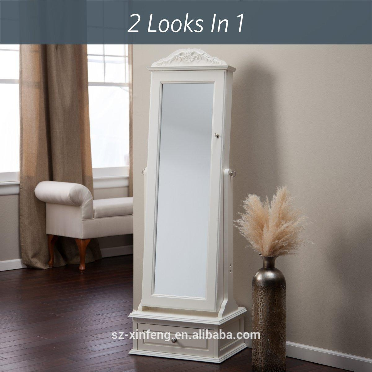 Transitional Cheval Mirror Locking Jewelry Armoire With Base Inside Cream Cheval Mirror (View 4 of 20)