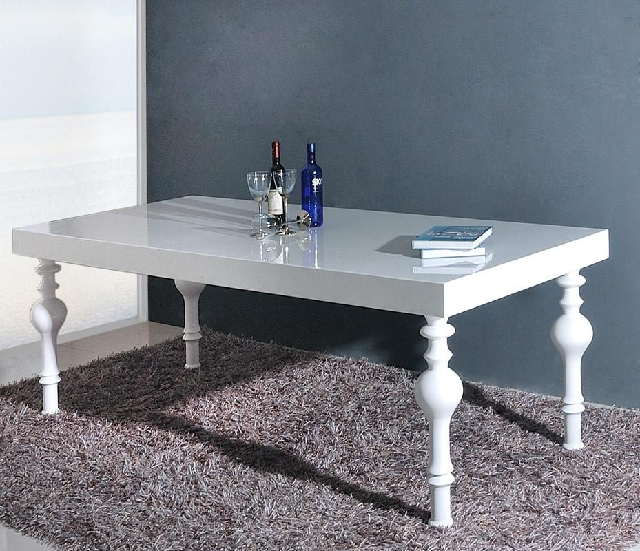 Transitional White High Gloss Dining Table Inside White Gloss Dining Tables (Image 16 of 20)