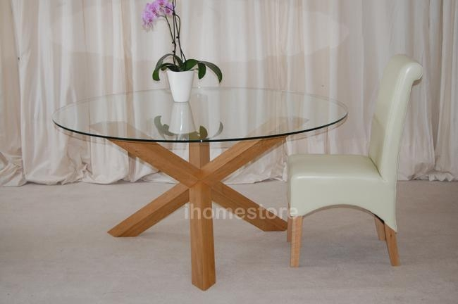 "Trio 5"" Solid Oak Glass Round Dining Table Furniture 