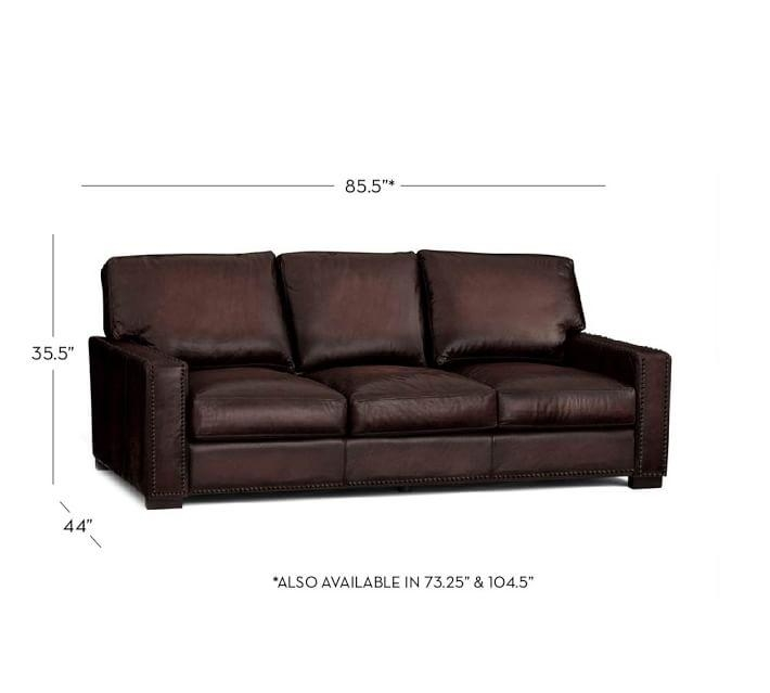 Turner Square Arm Leather Sofa With Nailheads | Pottery Barn With Brown Leather Sofas With Nailhead Trim (Image 20 of 20)