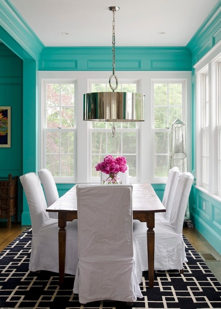 Turquoise And White Dining Room Transitional With Drum Pendant In Turquoise Drum Chandeliers (Image 21 of 25)