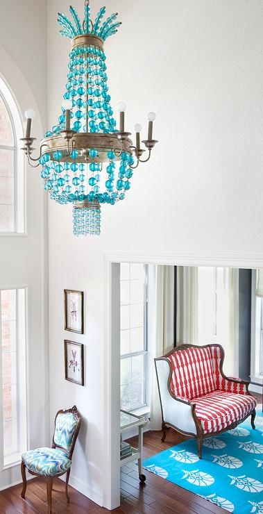 Turquoise Beaded 4 Light Chandelier Within Turquoise Gem Chandelier Lamps (Image 25 of 25)