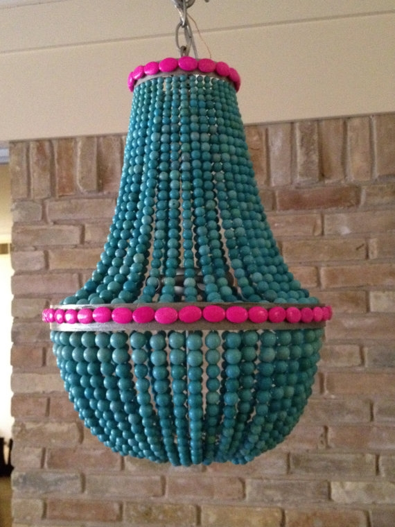 Turquoise Beaded Chandelier Amanda Nisbet Lighting Love Pertaining To Turquoise Blue Beaded Chandeliers (Image 21 of 25)