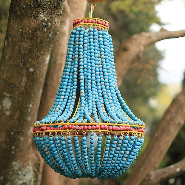 Turquoise Beaded Chandelier Antique Farmhouse Intended For Turquoise Beaded Chandelier Light Fixtures (View 2 of 25)