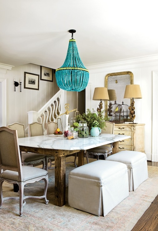 Turquoise Beaded Orb Chandelier Over Dining Table Contemporary Intended For Turquoise Blue Beaded Chandeliers (Image 22 of 25)