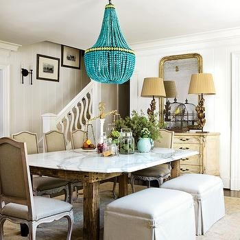 Turquoise Beaded Orb Chandelier Over Dining Table Contemporary With Regard To Turquoise Orb Chandeliers (Image 19 of 25)