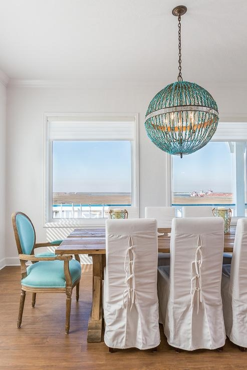 Turquoise Beaded Orb Chandelier Over Dining Table Contemporary Within Turquoise Orb Chandeliers (View 2 of 25)