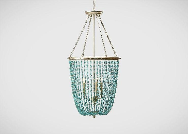 Turquoise Beaded Rivulets Chandelier Throughout Turquoise Blue Chandeliers (Image 15 of 25)