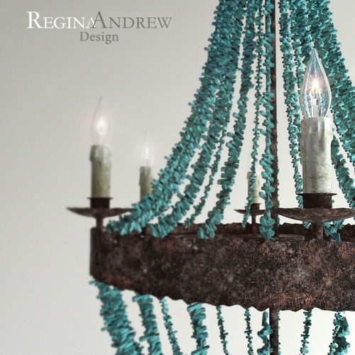 Turquoise Beads Six Light Chandelier 3d Model Max Fbx With Turquoise Beads Sixlight Chandeliers (Image 24 of 25)