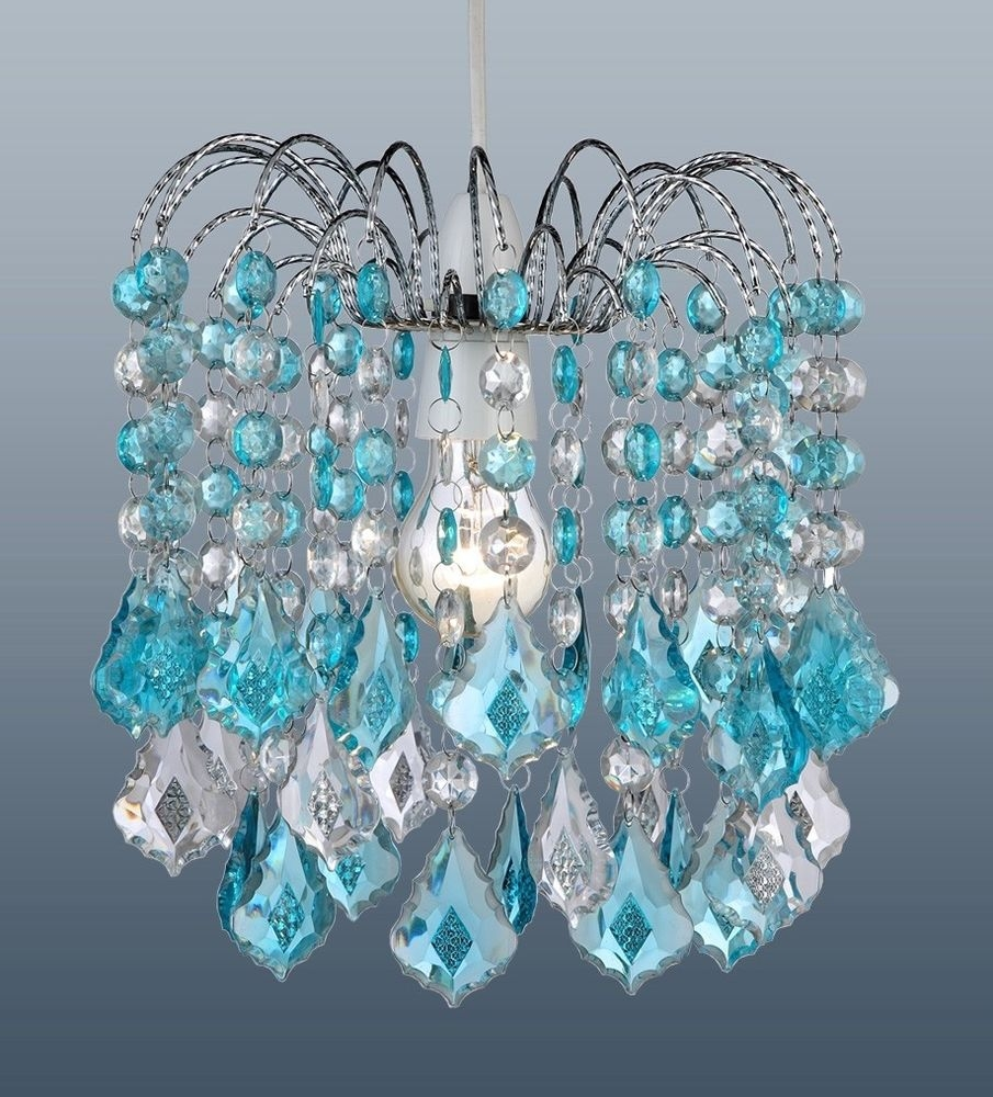 Turquoise Blue Acrylic Crystal Pear Drops Chandelier Ceiling Light With Regard To Turquoise Chandelier Crystals (Image 21 of 25)