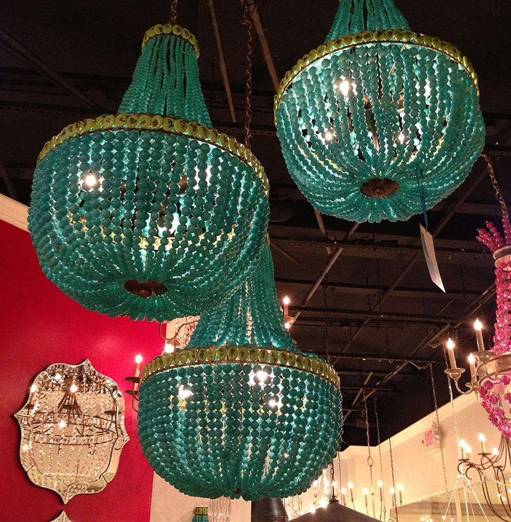 Turquoise Blue Beaded Coastal Beach 3 Light Chandelier Kathy Kuo Throughout Turquoise Chandelier Lights (View 14 of 25)