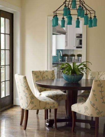 Turquoise Blue Chandelier Transitional Dining Room Inside Turquoise Blue Chandeliers (Image 21 of 25)