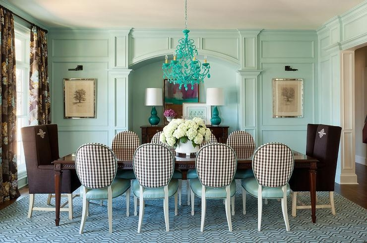 Turquoise Blue Chandelier With Brown And Blue Dining Chairs Regarding Turquoise Blue Chandeliers (Image 22 of 25)