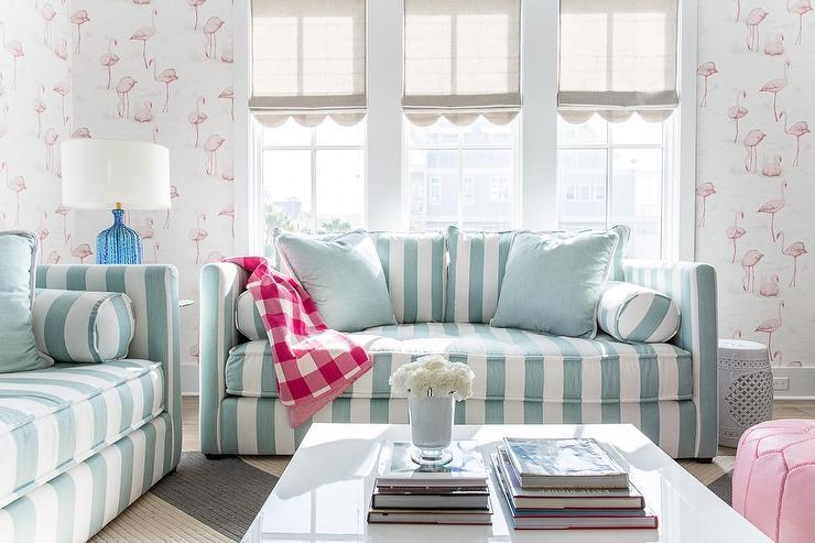 Turquoise Blue Striped Sofas With Pink Buffalo Check Throw Blanket Pertaining To Blue And White Striped Sofas (Photo 5 of 20)