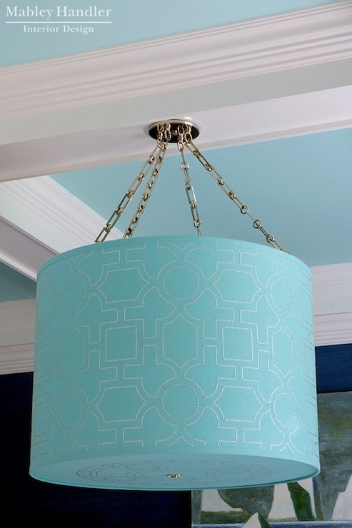Turquoise Ceiling Design Ideas With Turquoise Drum Chandeliers (Image 22 of 25)