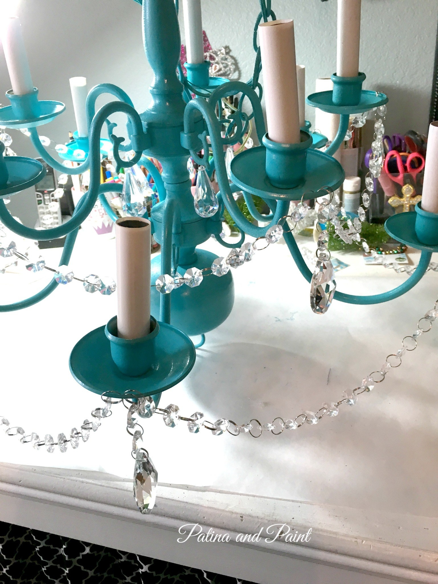 Turquoise Chandelier Patina And Paint With Turquoise Chandelier Crystals (Image 23 of 25)