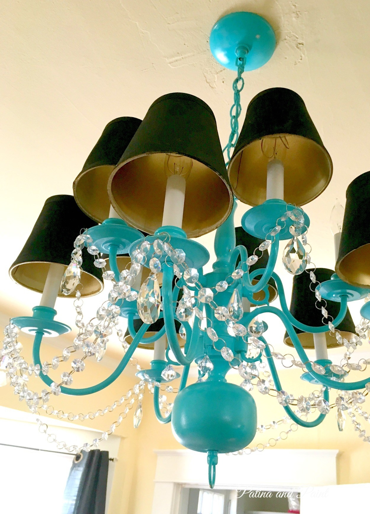 Turquoise Chandelier Patina And Paint Within Turquoise And Gold Chandeliers (Image 10 of 13)