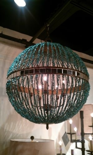 Turquoise Marble Orb Chandelier The Designer Insider For Turquoise Orb Chandeliers (View 18 of 25)