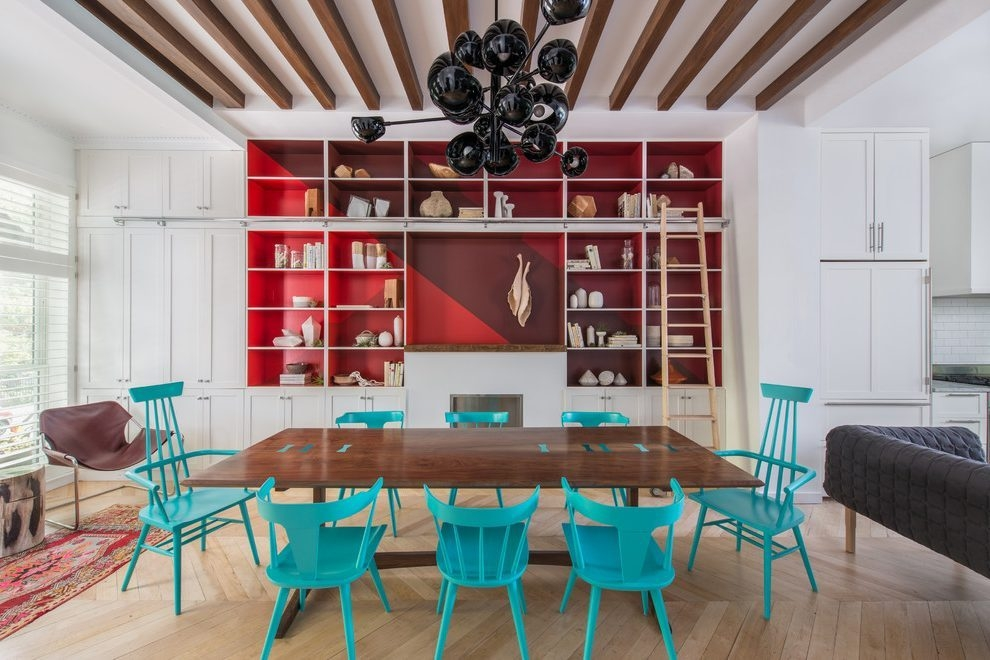 Turquoise Red Decor Dining Room Contemporary With Red Shelves Orb Within Turquoise Orb Chandeliers (Image 24 of 25)