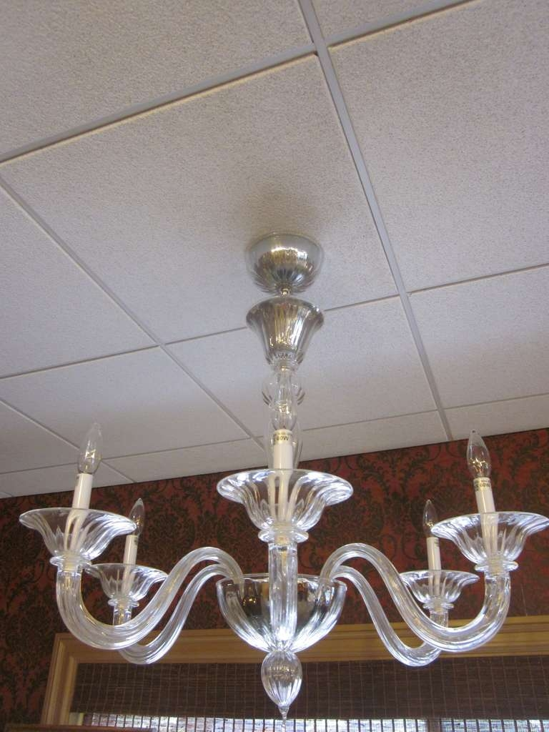 Two Clear Murano Glass Chandeliers Attributed To Venini For Sale Throughout Clear Glass Chandeliers (Image 25 of 25)