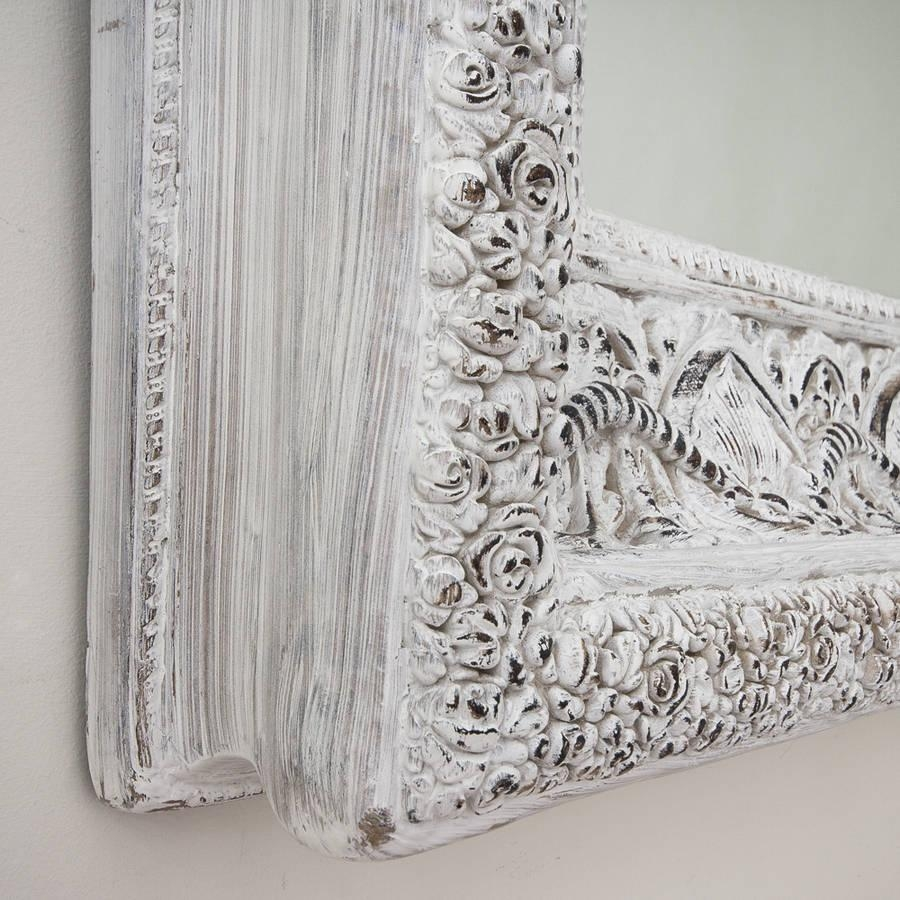 Two Metre Large 'shabby Chic' Whitewashed Mirrordecorative Regarding Shabby Chic Mirrors (Image 19 of 20)