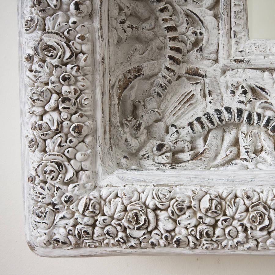 Two Metre Large 'shabby Chic' Whitewashed Mirrordecorative With Regard To Large Shabby Chic Mirrors (View 11 of 20)