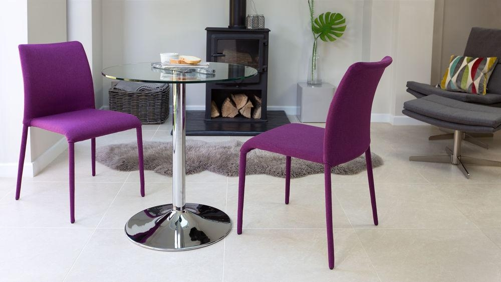 Two Seater Round Glass Dining Set | Stackable Chairs | Uk Within Two Seater Dining Tables And Chairs (Image 20 of 20)
