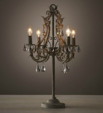 Two Tiere Chandelier Style Faux Crystal Bar Table Lamp 25 Tall Inside Faux Crystal Chandelier Table Lamps (Image 21 of 25)